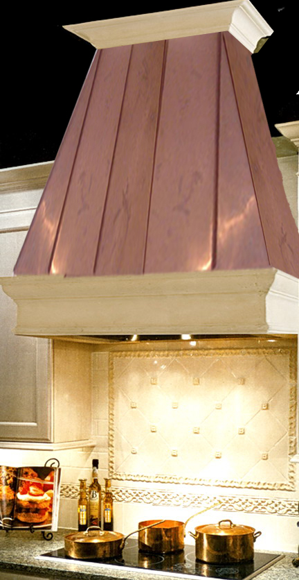 limestone range hood parma with copper-top