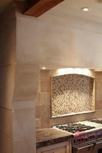 """custom 60"""" limestone range hood"""