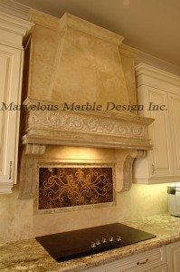 custom french limestone range hood