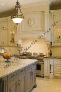 Stone range hood in 10ft celing kitchen